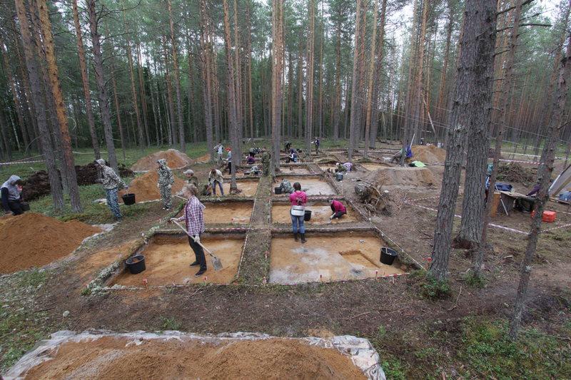 Эжольский могильник. Общий вид на раскоп.