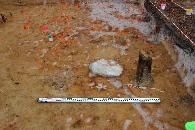 Рабочий момент зачистки поверхности раскопа