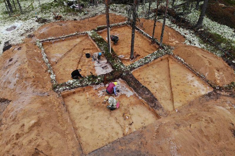 Раскопки поселения Мучкас на р. Мезень